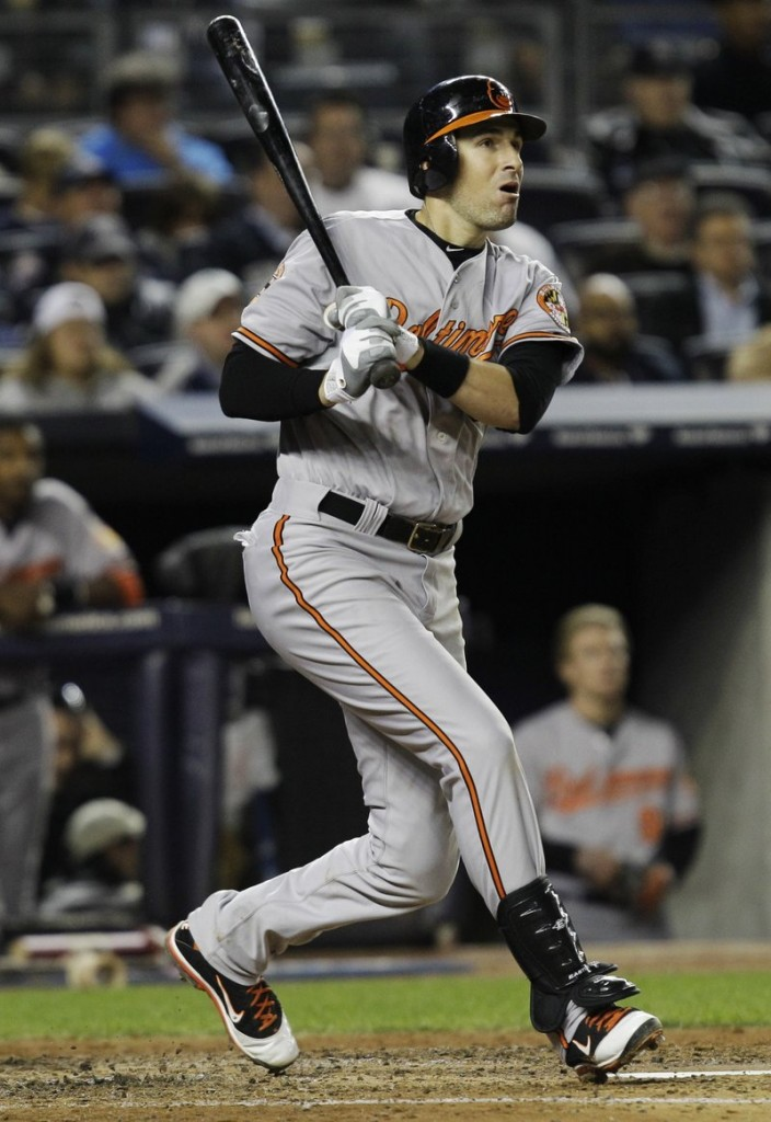 Ryan Flaherty of Portland follows through on a single for Baltimore in the fourth inning Thursday night.
