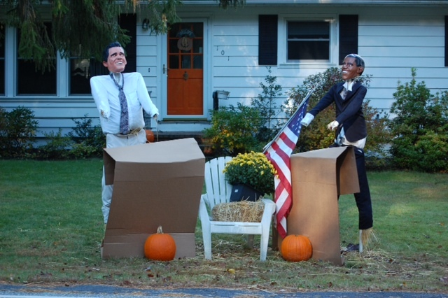 Scarecrows seen around Cape Elizabeth include presidential candidate Mitt Romney and President Barack Obama ...