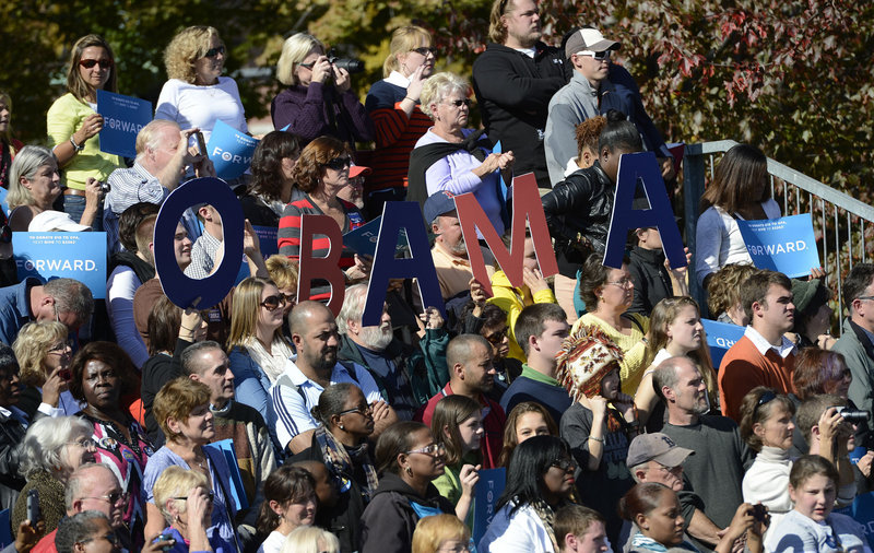 Supporters listen to President Obama at Veterans Memorial Park in Manchester, N.H, on Thursday. A crowd estimated at 6,000 people turned out to hear the president.