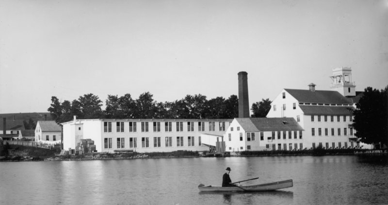 The manufacturing tradition in Sanford started in the village of Springvale. This cotton mill, known as the Sanford Manufacturing Co., was built in 1842. It was later known as the Springvale Cotton Mill.