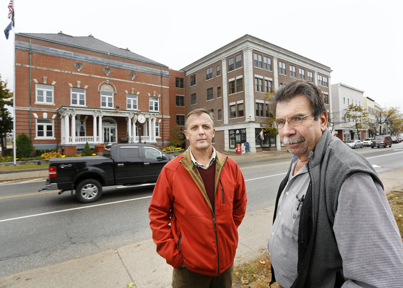 Jonathan Mapes, left, a Springvale businessman, and Brad Littlefield, a Sanford town councilor, hope that Sanford residents will vote yes Nov. 6 on a proposed charter that would change the town to a city.