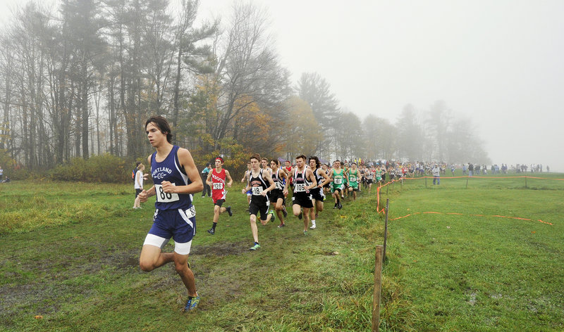 Ben Allen of Portland leads the pack early in the Western Class A boys' race. Allen finished seventh in a race won by George Morrison of Massabesic.