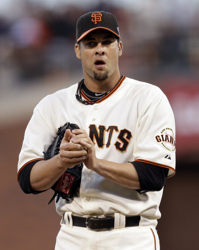Ryan Vogelsong reacts after giving up a rare hit to Daniel Descalso during his gem of a Game 6 performance.