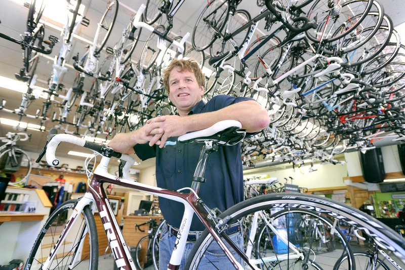"""David Brink at Cycle Mania in Portland said Armstrong deserves credit for """"what he has done to get people off the couches and out riding bikes."""""""