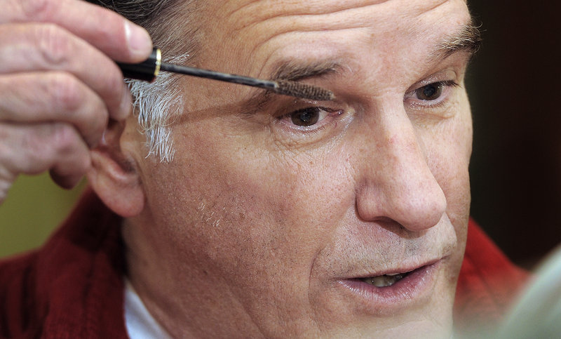 Working with a makeup artist, Mike Cote learned how to brush white dye into his sideburns and use mascara to thicken his eyebrows. Even limited to nonspeaking roles, Cote has made about 20 appearances as Mitt Romney.