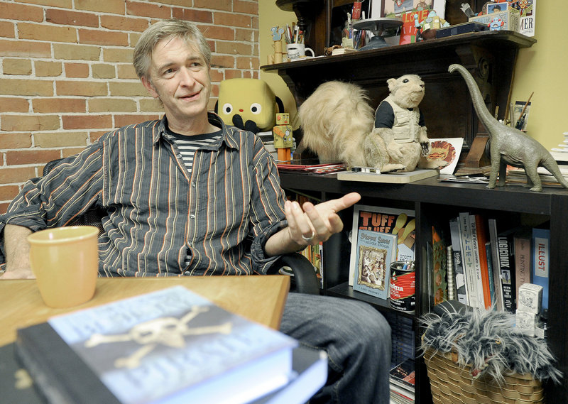 Scott Nash in his Portland office and, below, Captain Blue Jay, the star of his new book