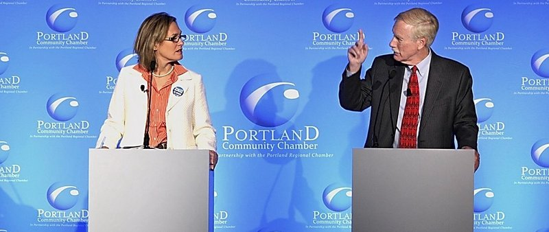 Democratic U.S. Senate candidate Cynthia Dill debates independent opponent Angus King at Eggs and Issues in Portland on Oct. 9.