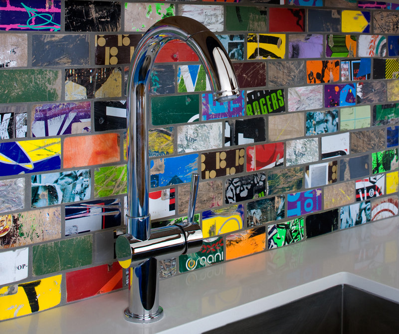 """A sink backsplash made with """"skate tile"""" hand-cut by Art of Board from recycled skate decks in Los Angeles"""