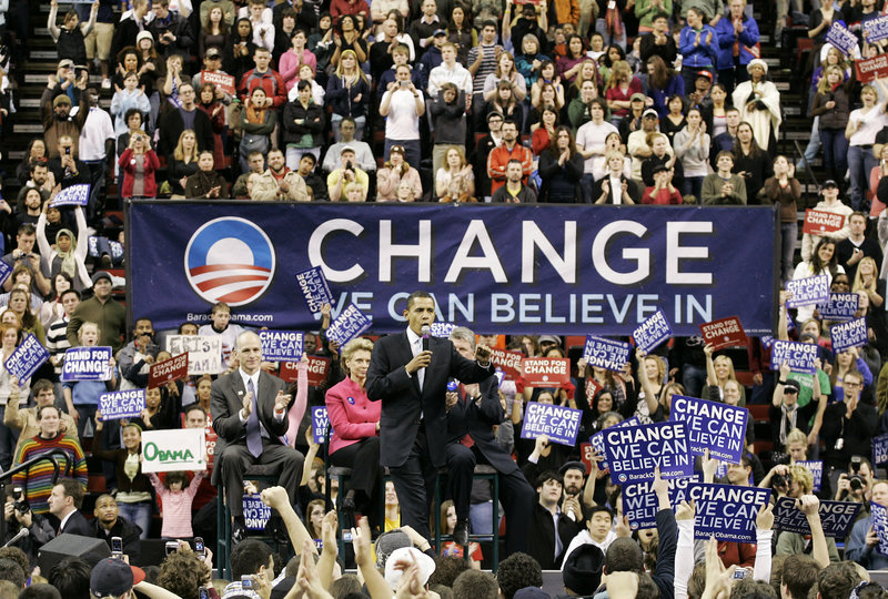 Barack Obama speaks at a rally in Seattle in 2008 on his way to becoming the first black president of the United States. His election has not improved racial attitudes in the past four years, an AP poll has found, with anti-black and anti-Hispanic sentiments increasing.