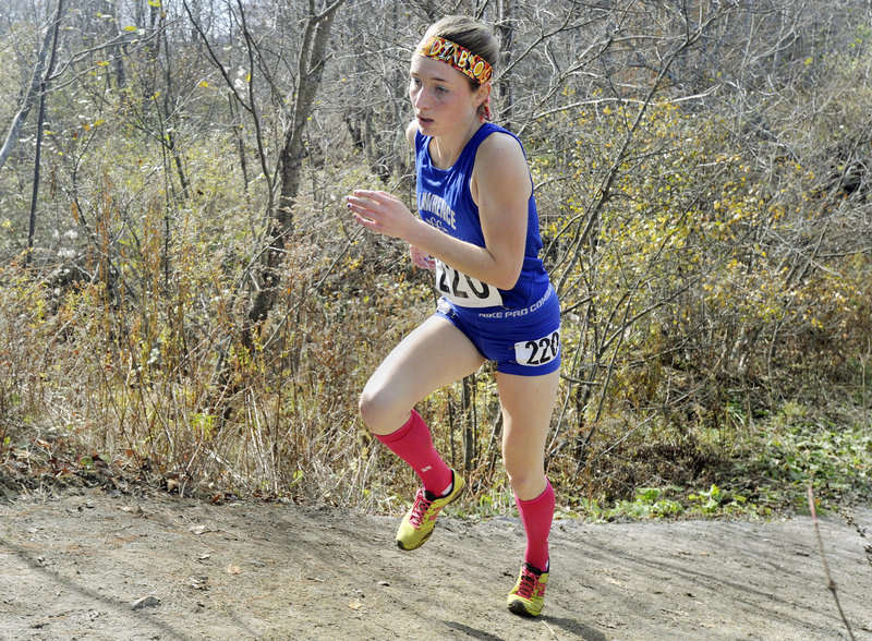 Erzsebet Nagy of Lawrence High attacks one of the hills on her way to winning the Class A indivudual title.