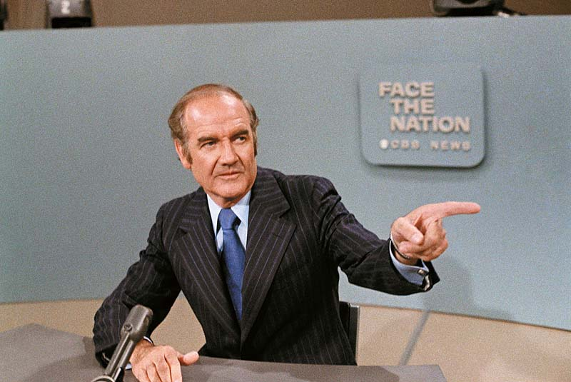 In this photo taken May 28, 1972, U.S. Sen. George McGovern, D-S.D., is shown on TV 's