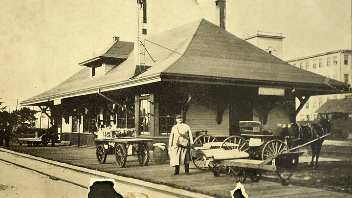 The Freeport train station around the turn of the 20th century.