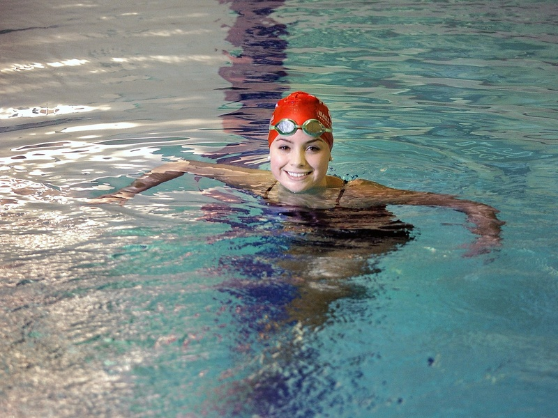 "Sarah Easterling ""is a really, really nice kid,"" said Greely swimming Coach Rob Hale. But ""you don't realize how competitive she is. You put on a cap and add water and she's a pit bull."""
