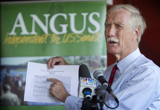 FILE - In this Aug. 17, 2012 file photo, Maine independent Senate candidate Angus King speaks at a news conference in Brunswick, Maine. Add this to your set of Election Day unknowns: Control of the United States Senate could conceivably come down to King who has resolutely refused to say which party he�d side with if voters send him to Washington. While it�s commonly accepted that King, a former Democrat who supports President Barack Obama, would align with Democrats, he has refused to say. That�s generated suspense and, in theory, could translate to power for King if the Senate ends up close to a 50/50 split. If one party ends up with a decisive majority, King may end up with less leverage than he hopes. (AP Photo/Robert F. Bukaty, File)