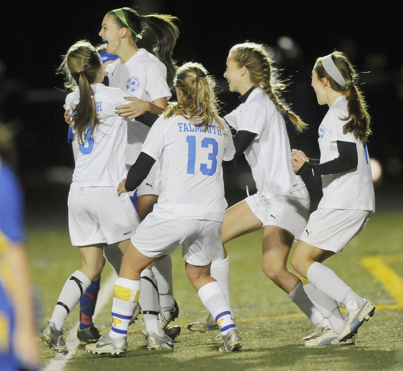 The Falmouth girls celebrated a penalty kick goal in the first half, then went on to capture the Class B title with a 2-1 win over Hermon.