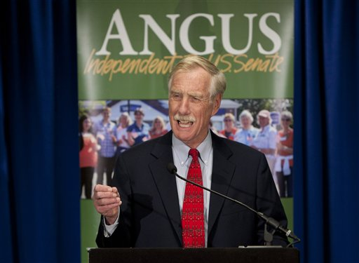 Independent Senator-elect Angus King speaks at a news conference, Wednesday in Freeport. The former two-term governor overcame challenges from Republican Secretary of State Charlie Summers and Democratic state Sen. Cynthia Dill to succeed retiring Republican Sen. Olympia Snowe.