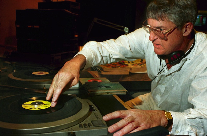 In this 1997 file photo, Toby LeBoutillier loads up a turn-table as he tries to find the right starting point for a song. Leboutillier who will host his final