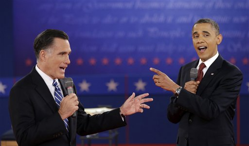 President Barack Obama and Republican presidential candidate Gov. Mitt Romney exchange views during the second presidential debate at Hofstra University on Oct. 16, 2012.