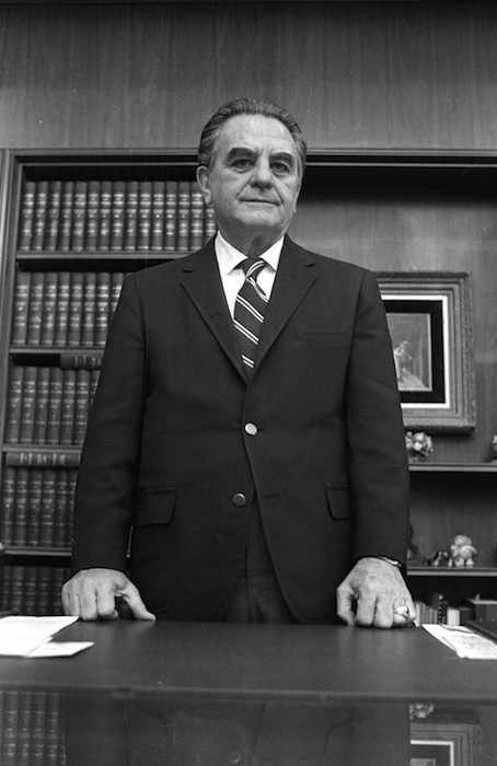 This Jan. 31, 1973 black-and-white file photo shows U.S. District Court Judge John Sirica in his office in Washington. The National Archives is publishing for the first time more than 850 pages of once-secret documents from the Watergate political scandal, including privileged legal conversations and prison evaluations of some Watergate burglars. A judge decided earlier this month to unseal the material.The files released Friday do not appear to provide any significant new revelations, but they provide context by revealing behind-the-scenes deliberations by the judge in charge of the case, U.S. District Court Judge John J. Sirica, along with prosecutors and defense lawyers. The files showed the judge at times discussing the case with special prosecutors and justifying his attempts to learn new facts in the case. (AP Photo)