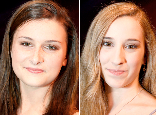 Shannon Dunbar, left, and Adrienne Pelletier, who share the role of Clara.