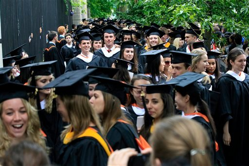 In this Tuesday, June 5, 2012 photo, friends and family greet a procession of the graduating class of 2012 at Princeton University after commencement ceremonies in Princeton, N.J. An annual survey predicts employers will increase hiring of new 4-year college graduates about 5 percent in the coming year. Demand for graduates with associate's degrees is expected to increase more sharply - by about 30 percent compared to last year's survey- while MBA hiring appears headed for an unexpected decline. The 42nd annual survey out Thursday, Nov. 15, 2012 from Michigan State University's College Employment Research Institute collects responses on hiring plans from more than 2,000 U.S. employers. (AP Photo/Mel Evans)