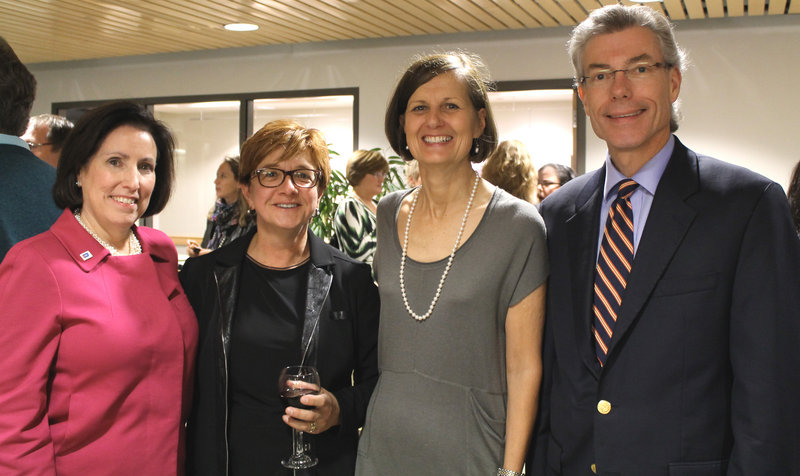 Peg Camp, chief operating officer of the American Cancer Society, Jac Ouellette, co-chair of Martinis & Art and a contributing artist, Dr. Susan Miesfeldt, event founder, co-chair and medical director of the Cancer Risk and Prevention Clinic at the Maine Medical Center Cancer Institute, and Andrew MacLean, chair of the New England Division board of directors for the American Cancer Society.
