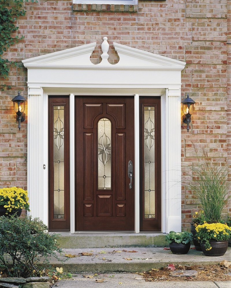 A Pella fiberglass door with glass inserts.