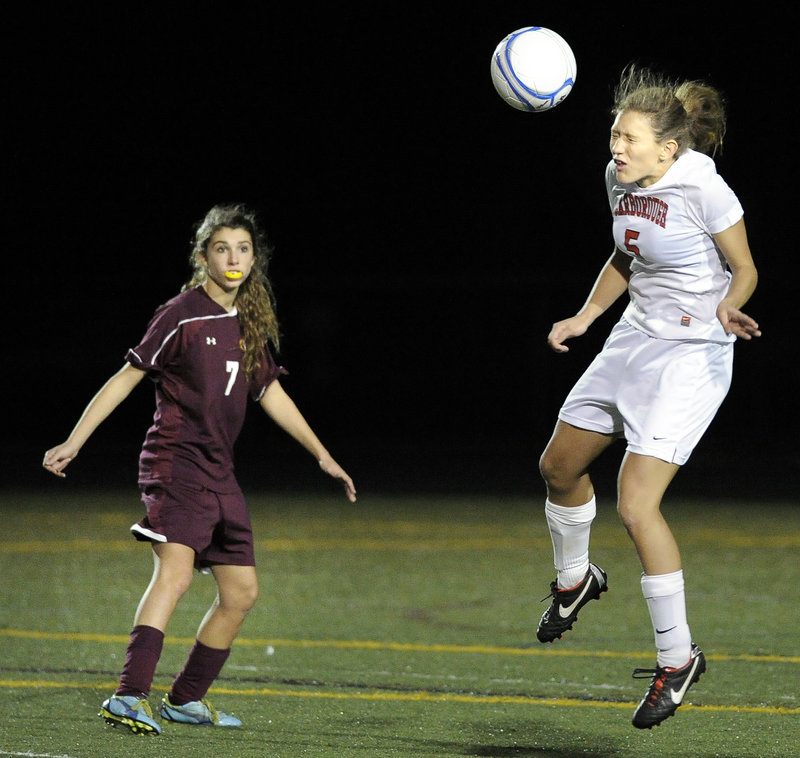 Katie Wahrer, right, is one of the mainstays on defense for Scarborough, which has allowed only four goals in 17 games. The Red Storm will face Bangor in Saturday's Class A state championship game for the third year in a row.