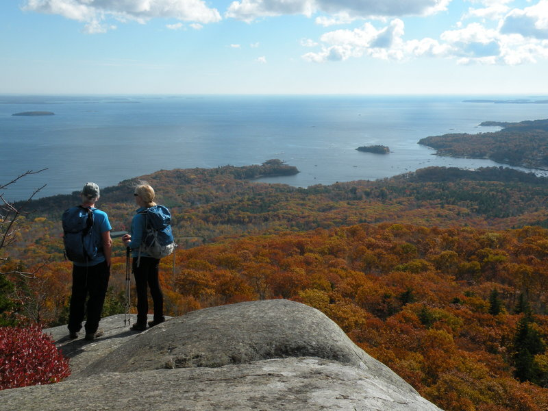 Ocean Lookout, a huge system of ledges and cliffs just beyond the peak of Mount Megunticook, provides a spectacular view of Camden Village and its harbor. On a clear day hikers can see Casco Bay some 60 miles south.