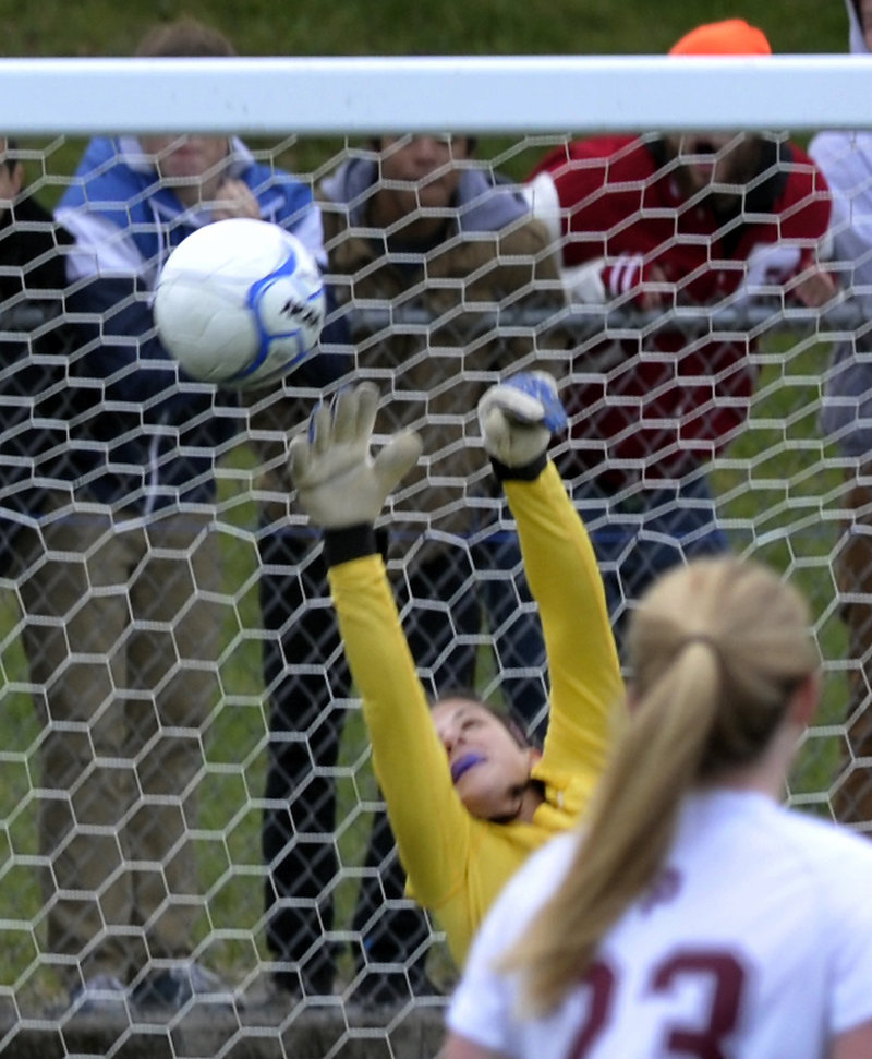 Sydney Martin of Scarborough made a few big saves for the Red Storm during the Class A state championship game on Saturday. And many came after she recovered from taking a hard shot to the throat in the first half.