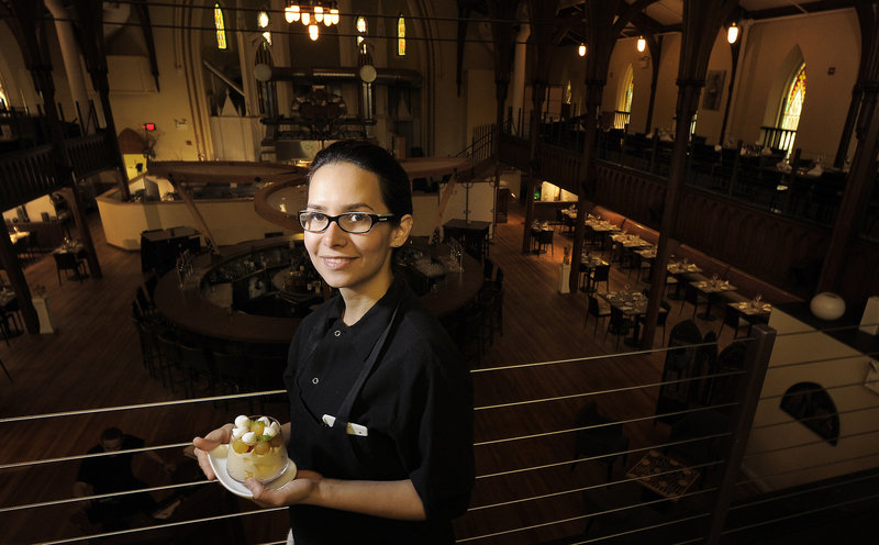 Ilma Lopez with her pumpkin trifle at Grace. She says it can be made in a big bowl if smaller dishes aren't available.