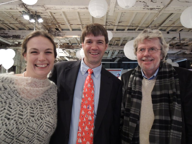 Christina Cumming, who helped Merriconeag High School in New Gloucester start a sailing team through SailMaine; her husband Jeff Cumming, executive director of SailMaine; and Peter Clough, who promotes fundraising for SailMaine at the recent fifth annual SailMaine Soiree.