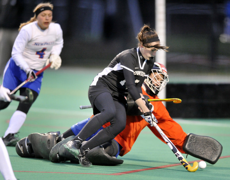 Bowdoin's Katie Riley is frustrated by SUNY-New Paltz goalkeeper Antonija Pjetri in first-half play of Wednesday's playoff game in Brunswick.