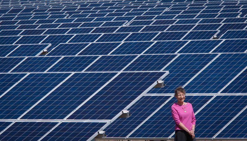 Helen Livingston has leased more than 40 acres to a company that erected a solar farm on North Carolina land once used for growing cotton. The state's renewable energy laws make the land leases a risk-free investment.
