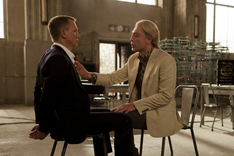 "Daniel Craig, left, and Javier Bardem in a scene from ""Skyfall."" Bardem says the first Bond movie he saw was ""Moonraker' when he was 12. He liked Jaws, the steel-toothed henchman in the film."
