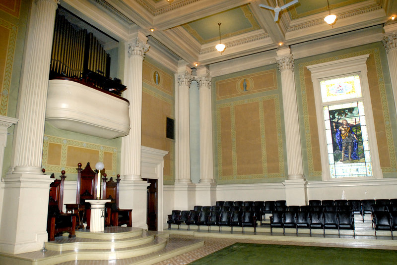 Portland's Masonic Temple, whose interior can be seen at left, is on Greater Portland Landmarks' first-ever list of Places in Peril.