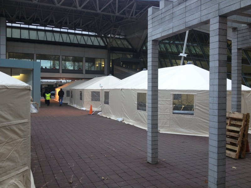 Here's a view of some of the seven mobile field hospital tents that were set up on the commons at Lehman College in the Bronx to serve people who were evacuated from nearby hospitals, nursing homes and residences before Hurricane Sandy.