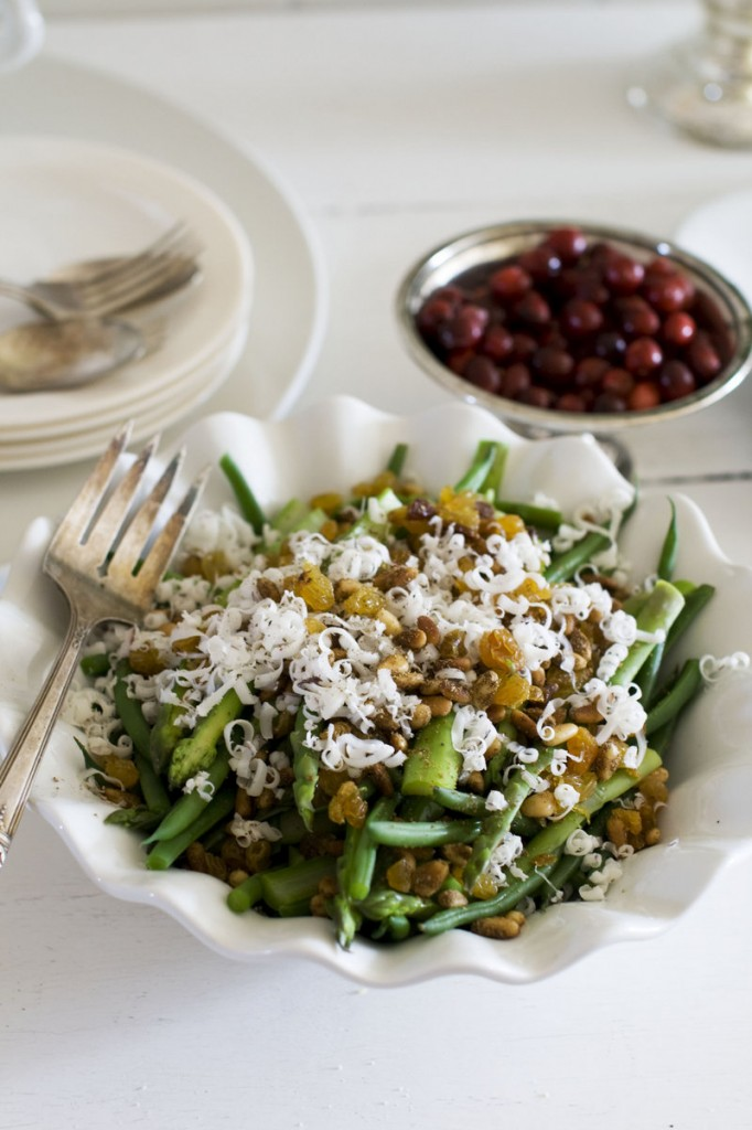 Asparagus and haricots verts with goat cheese and pine nuts.
