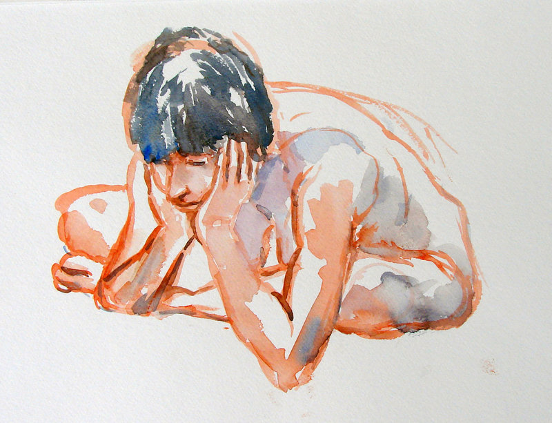 """Katrina,"" watercolor by Portland artist Richard Jacobs."