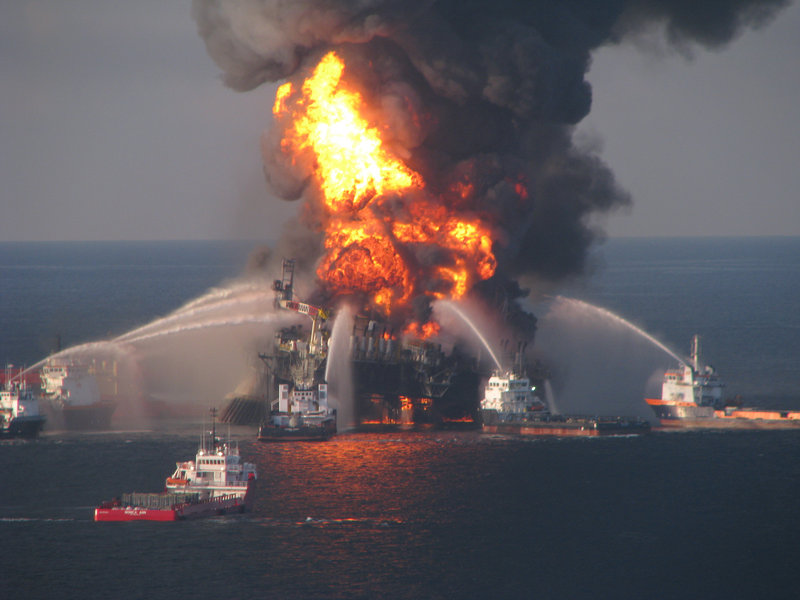 Fire boats battle the blazing remnants of the Deepwater Horizon on April 21, 2010, a day after the blowout that resulted in an historic oil spill that gushed for 87 days.