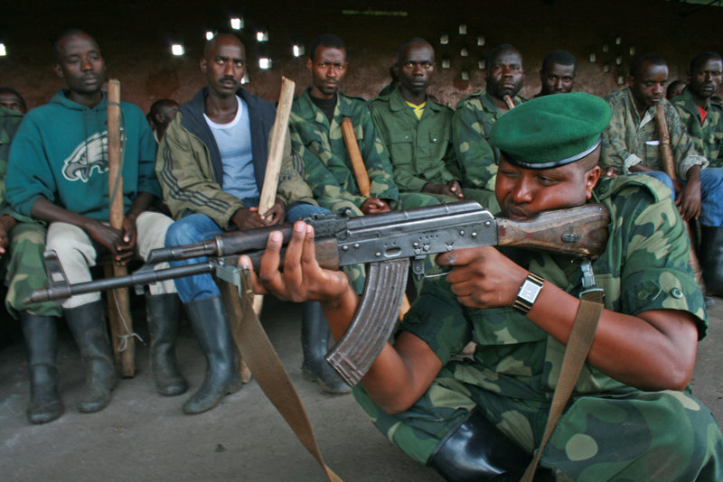 M23 rebels conduct training exercises in Rumangabo, eastern Congo, last month. The group, which as of Sunday night was camped 1.8 miles from the city of Goma, is believed to be receiving money, arms and fighters from Rwanda.