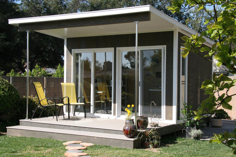 A prefabricated cabin is used as a backyard artist studio in Pasadena, Calif. The Zip model by Cabin Fever in Miami, Fla., comes flat-packed and can be assembled in just a few days.
