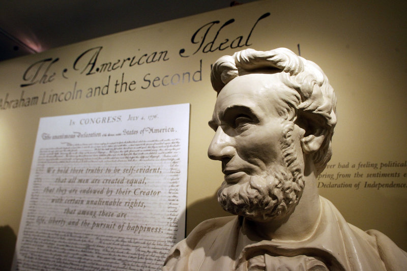 This Monday, Nov. 19, 2012 photo shows a bust of Abraham Lincoln at the Robert Todd Lincoln mansion Hildene in Manchester, VT. The Georgian Revival home was built in 1905 by Robert Todd Lincoln, the only one of the president's four children to survive to adulthood. (AP Photo/Toby Talbot)