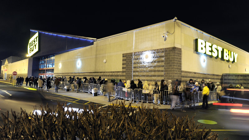The line of Black Friday shoppers outside Best Buy in South Portland late Thursday night includes a great deal of people in search of a great deal.