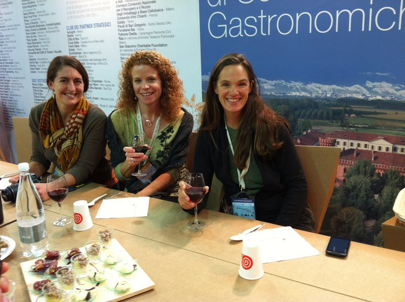 Maine delegate and Sunrise Guide publisher Heather Chandler, center, with fellow U.S. delegates Jenn Halpin and Amanda Green at the Terra Madre conference in Italy.