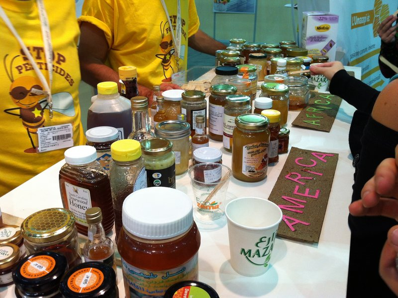 The Honey Bar booth at Terra Madre allowed delegates to sample honeys from around the world.