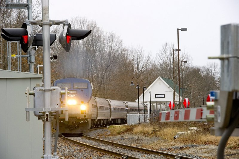 The Downeaster train departs the station in Freeport en route to Brunswick on Wednesday, Nov. 28, 2012.