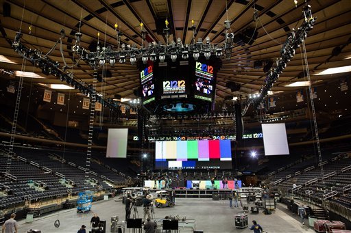 Workers prepare Madison Square Garden for the