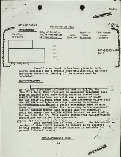 This file copy of a document, obtained by The Associated Press through the Freedom of Information Act, from playwright Arthur Miller's FBI file, shows an FBI report stating, that