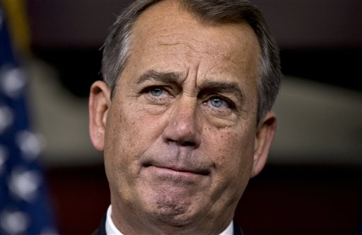 Speaker of the House John Boehner, R-Ohio, speaks to reporters about the fiscal cliff negotiations at the Capitol in Washington on Friday. Hopes for avoiding the